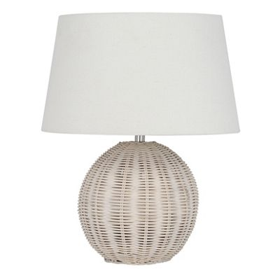 Rattan White Wash Table Lamp Complete