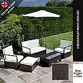 BillyOh Mocha Brown Sandringham 4 Seater Sofa Rattan Garden Funrniture Set