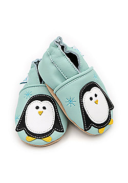 Dotty Fish Soft Leather Baby Shoe - Mint Percy Penguin - 0-6 Months to 3-4 Years - Mint green & White