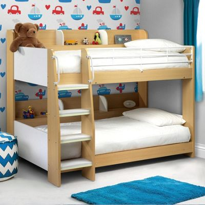Happy Beds Domino Wood Kids Storage Bunk Bed with 2 Open Coil Spring Mattresses - Maple and White - 3ft Single