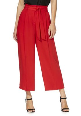 F&F Tie Waist Cropped Wide Leg Trousers Red 16