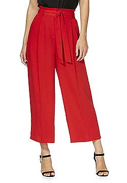 F&F Tie Waist Cropped Wide Leg Trousers - Red