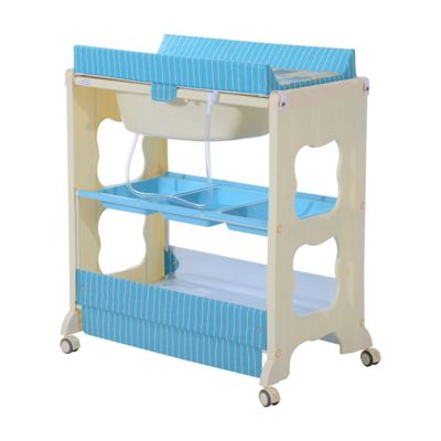 Homcom 3 tier Baby Changing Baby Bath and Dresser w/ Wheels (Blue)