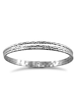 Jewelco London Sterling Silver - 3 strand D/C Slave Bangle - Bangle - Ladies