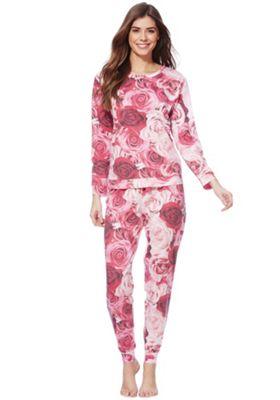 F&F Rose Print Jersey Twosie 12-14 Pink