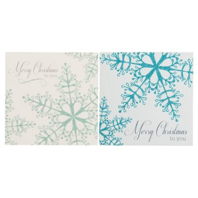 Tesco Glittered Snowflakes Christmas Cards, 12 Pack