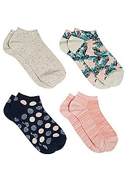 F&F 4 Pair Pack of Palm Tree and Polka Dot Trainer Liners - Grey