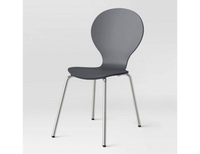 Set Of 4 ICON DINING CHAIR-Grey/Chrome
