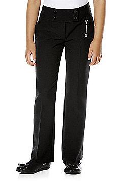 F&F School Girls Fob Detail Bootcut Trousers - Black
