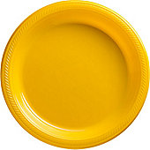 Yellow Serving Plates - 26cm Plastic - 50 Pack