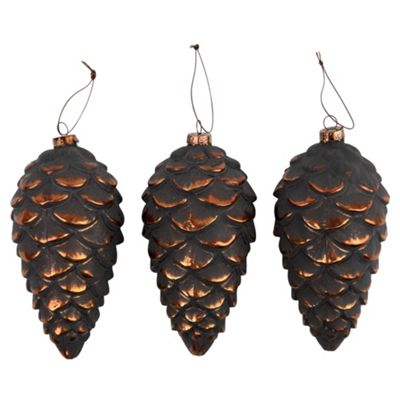 Set of 3 Frosted Copper Glass 14cm Pine Cone Christmas Tree Decorations
