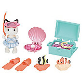Sylvanian Families Tuxedo Girl Cat Seaside Treasure