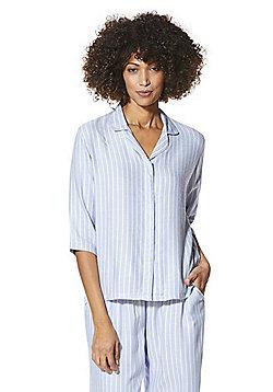 F&F Striped Woven Revere Collar Lounge Shirt - Light blue