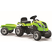 Smoby Green Tractor With Trailer