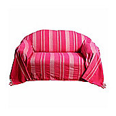 Homescapes Cotton Morocco Striped Pink Throw, 225 x 255 cm