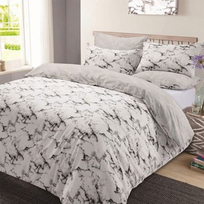 Marble Edge Duvet Cover With Pillow Case Set Grey Single