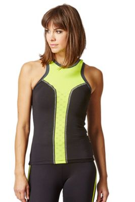 Reversible High Neck Running Vest with Reflective Panel Black-Yellow S