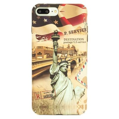 iPhone 8 Plus Vintage American Themed Case with Statue of Liberty - Multi