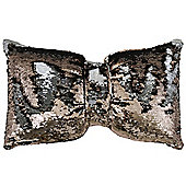 Two Tone Sequin Siren Bow Cushion - Copper & Silver