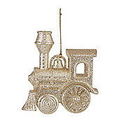 Gold Glitter Train Christmas Tree Decoration
