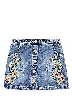 F&F Embroidered Denim Skirt - Acid wash