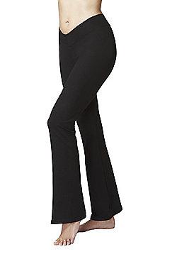 Women's Flattering V Waist Yoga Bootcut Bottoms Black - Long Length - Black