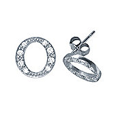 Rhodium Sterling Silver Initial Identity Stud Earrings Letter O