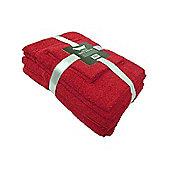 Dark Red 6 Piece Cotton Bath Towel Bale Set