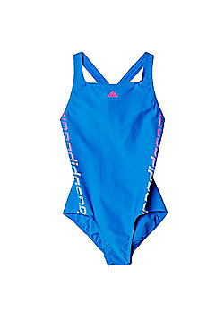 adidas Linear One Piece Girls Kids Swimsuit Costume Royal Blue - Blue