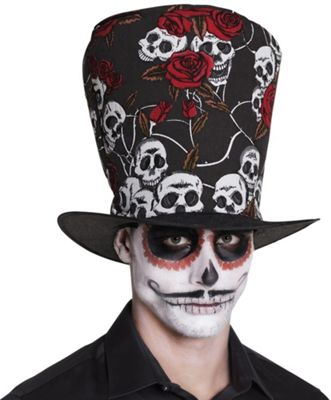 Adult Day of the Dead Voodo Skull Roses Top Hat Fancy Dress Accessory