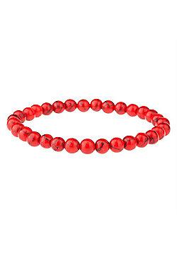 Urban Male Red Turquoise Beaded Gemstone Bracelet For Men 6mm