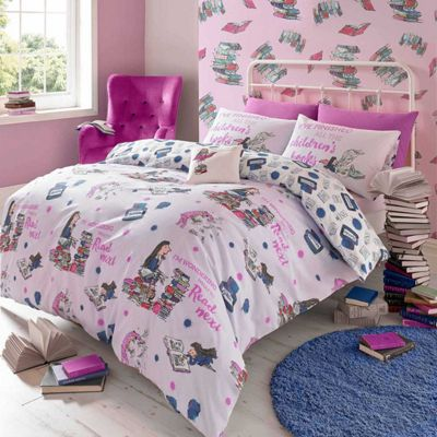 Roald Dahl 'Bookworm' Matilda Pink Reversible Quilt Cover Set, Single