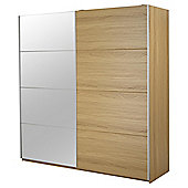 Smith Extra Wide Sliding Mirrored Double Wardrobe, Oak Effect
