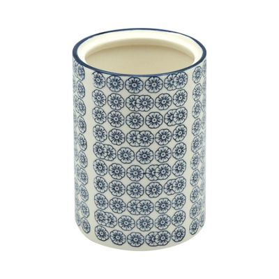 Nicola Spring Patterned Porcelain Kitchen Utensil Pot - Blue Flower Print Design