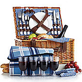 VonShef 4 Person Blue Tartan Picnic Basket