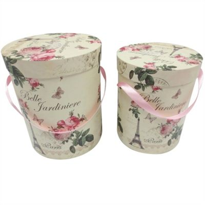 Set of 2 Belle Jardinière Round Storage Boxes
