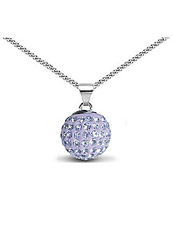 Jewelco London Sterling Silver Crystal Lilac Solitaire 12mm Pendant - 18 inch Chain