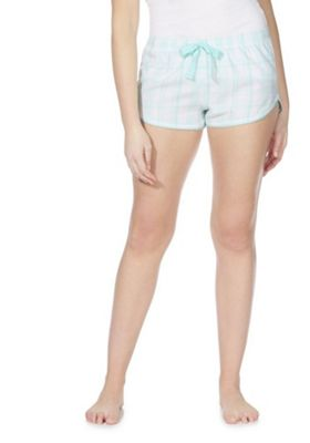 F&F Checked Woven Lounge Shorts Mint 12-14
