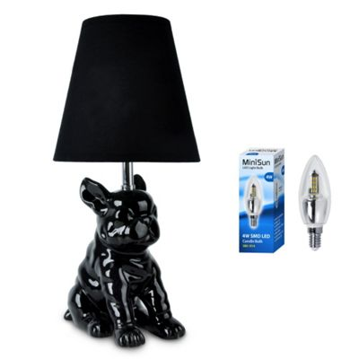 French Bull Dog Ceramic Table Lamp, Black & 4W LED Candle Bulb
