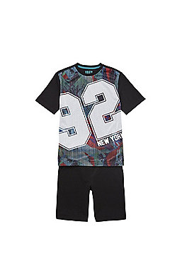 F&F 92 Slogan Mesh T-Shirt and Shorts Set - Multi