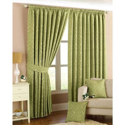 Riva Home Willow Green Pencil Pleat Curtains - 46x54 Inches (117x137cm)