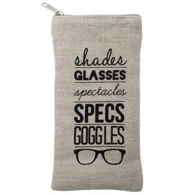 Linen Glasses Case - Text