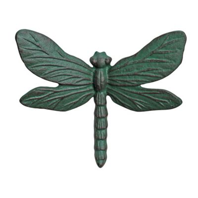 Wall Mountable Verdigris Cast Iron Dragonfly Garden Ornament
