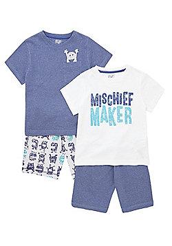 F&F 2 Pack of Monster Print Pyjamas - Navy