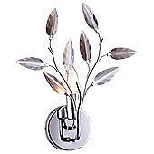 Modern Polished Chrome Wall Light with Clear and Smoked Acrylic Leaves