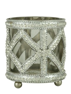 Clear Glass And Nickel Glitz Cross Tealight Holder (10cm)