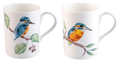 Roy Kirkham RSPB Kingfisher Glory Mugs, Set of 2