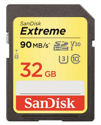 SanDisk Extreme SDHC Memory Card 32GB 90MB/s Class V30 UHS-I