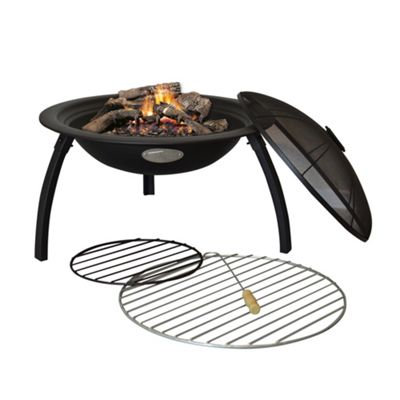 Fire Pit Patio Heater / Grill / BBQ - Black Steel - 540mm Diameter