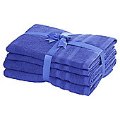 TESCO PURE COTTON 4 PIECE TOWEL BALE ULTRAMARINE